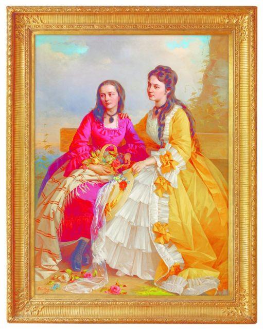 Vastagh György Fiattal lányok rózsakosárral, 1871