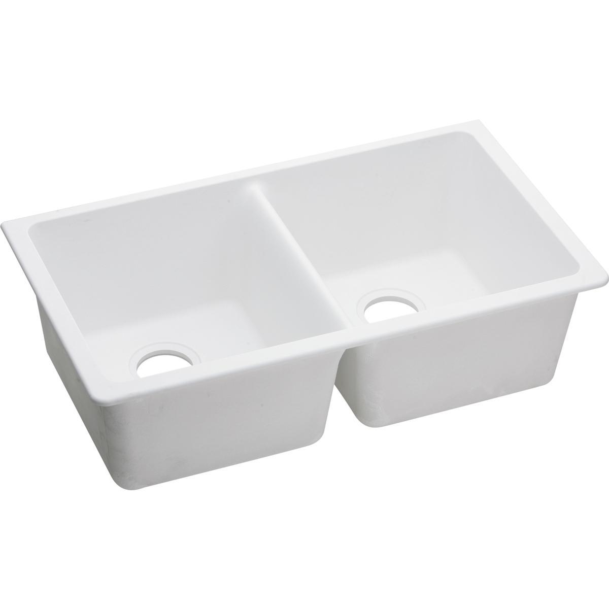 elgu3322wh white granite 33x22 elkay undermount double bowl sink