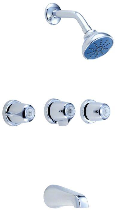 gerber classics polished chrome ada 3 handle tub shower faucet