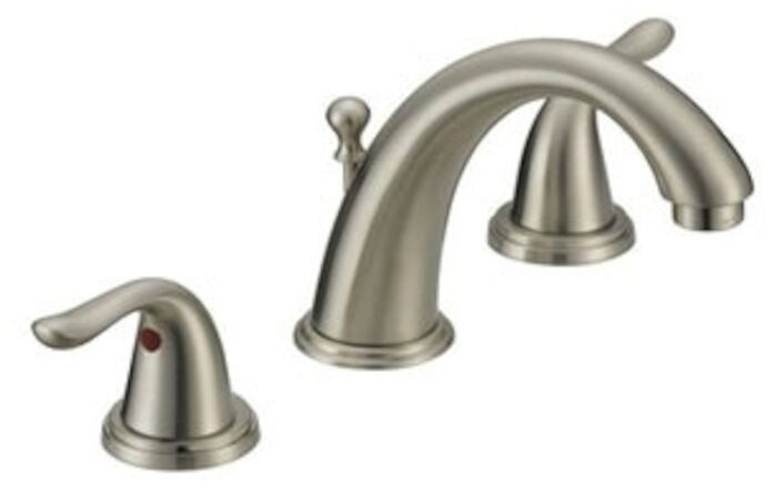 matco norca brushed nickel ada lead free 6 to 12 in widespread 3 hole 2 handle bathroom sink faucet 1 2 gpm