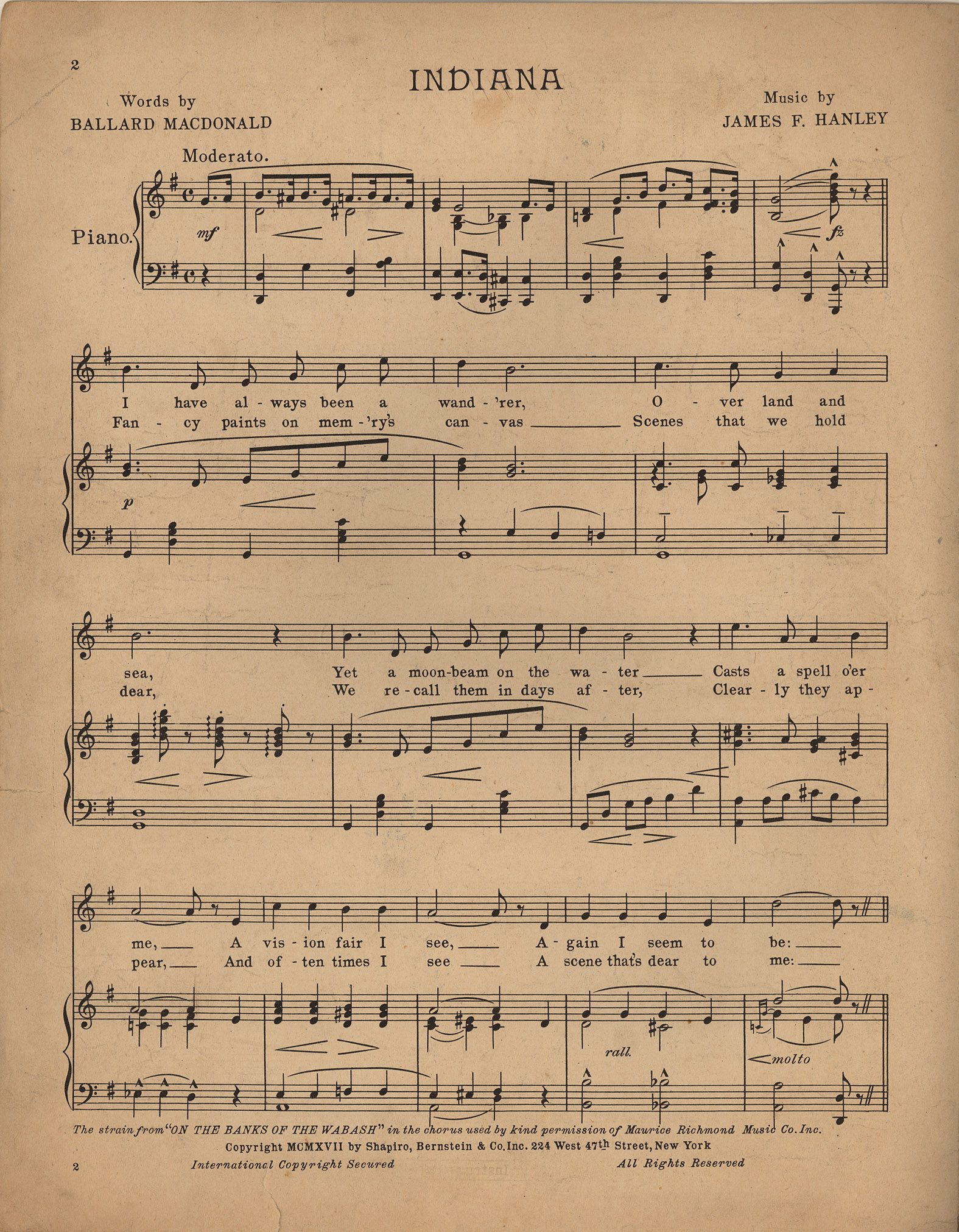 Indiana On The Banks Of The Wabash Historic American Sheet Music