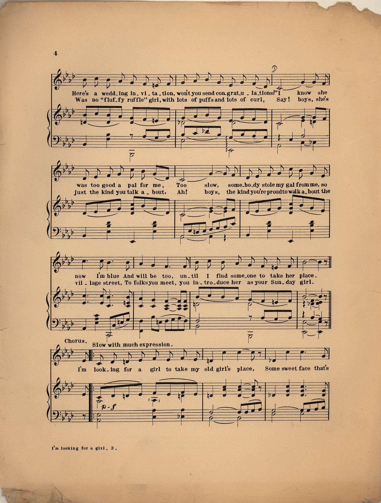 I M Looking For A Girl To Take My Old Girl S Place Historic American Sheet Music