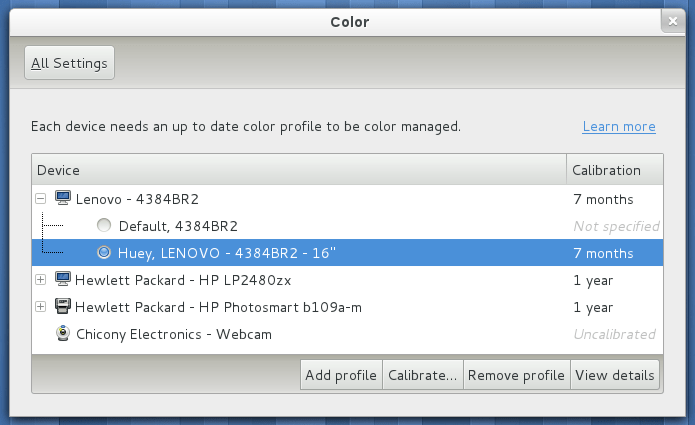 Color Management settings