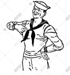 download sailor clip art clipart black and white clip art man hand hat [ 900 x 1215 Pixel ]
