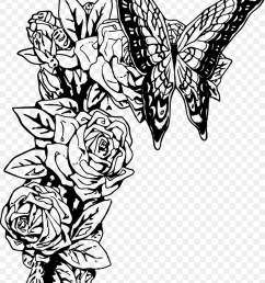 rose clipart monarch butterfly black and white clip art [ 900 x 1180 Pixel ]
