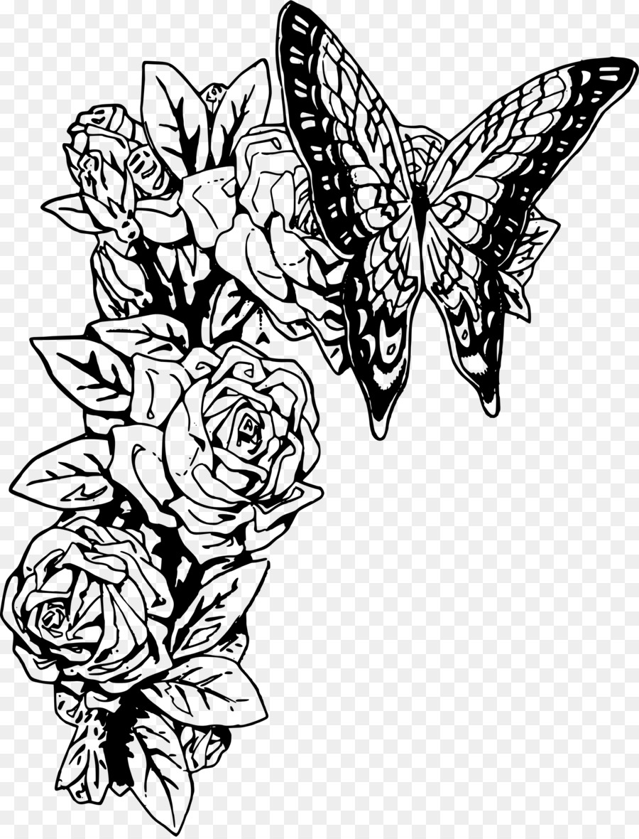 hight resolution of rose clipart monarch butterfly black and white clip art