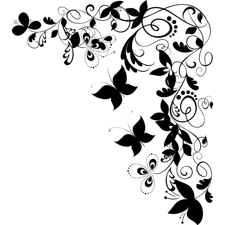 Flower Borders Clipart Black And White