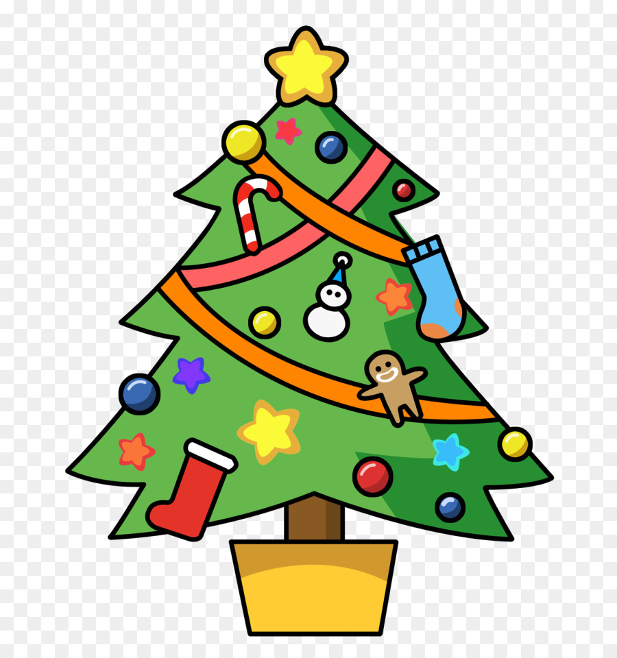 Christmas Decorations Cartoon Clipart Gift Tree Christmas Transparent Clip Art