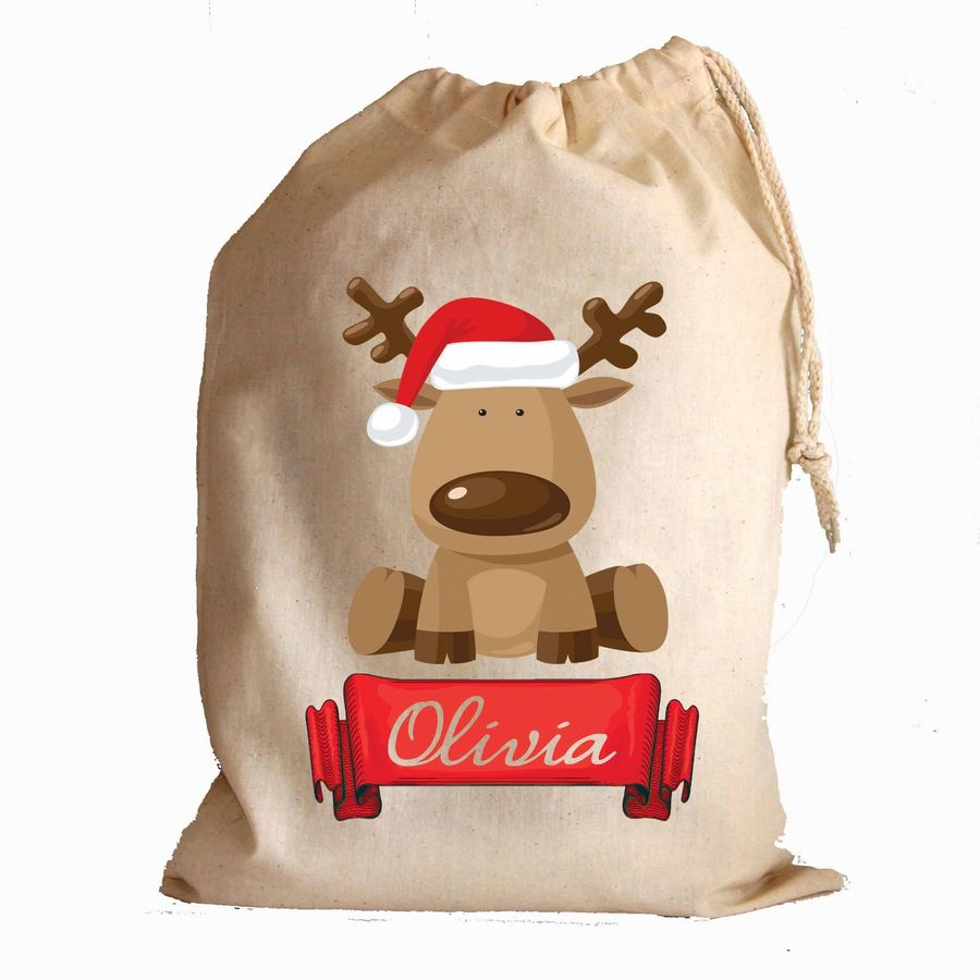 hight resolution of download personalised christmas santa sack hessian traditional sytle santa hat clipart reindeer santa claus bag reindeer bag gift