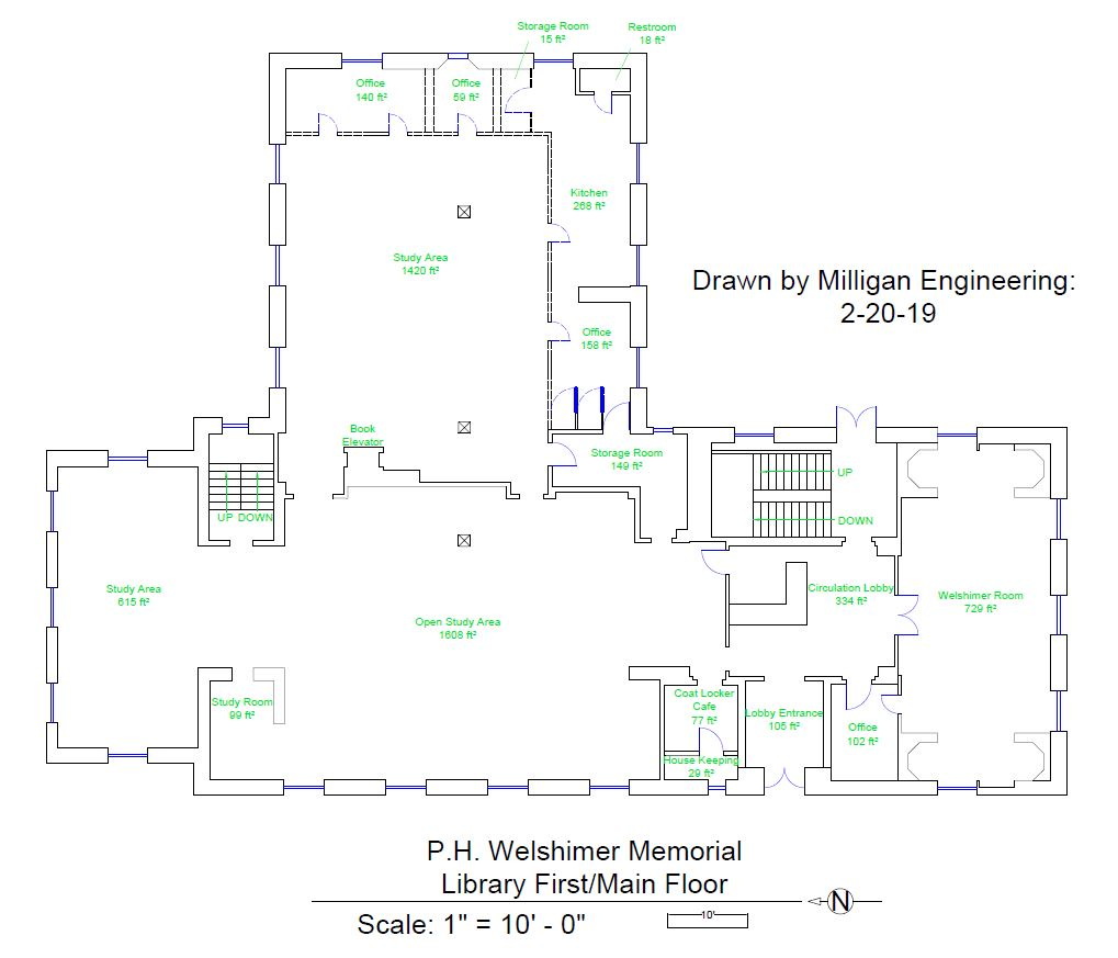 hight resolution of drawing of the main floor of p h welshimer memorial library completed by engineering fundamentals feng 102 students
