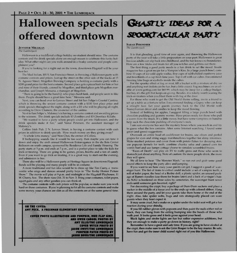Halloween in the NAU Newspaper!