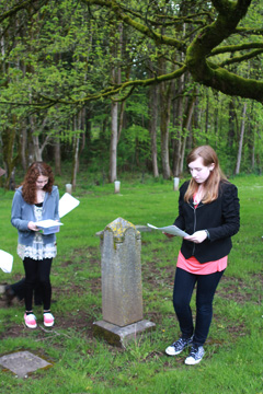 reading at the cemetery