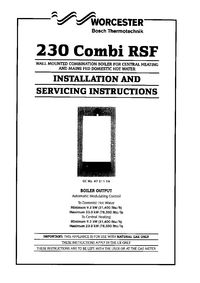 Boiler Manuals: Worcester 230 Combi RSF Products
