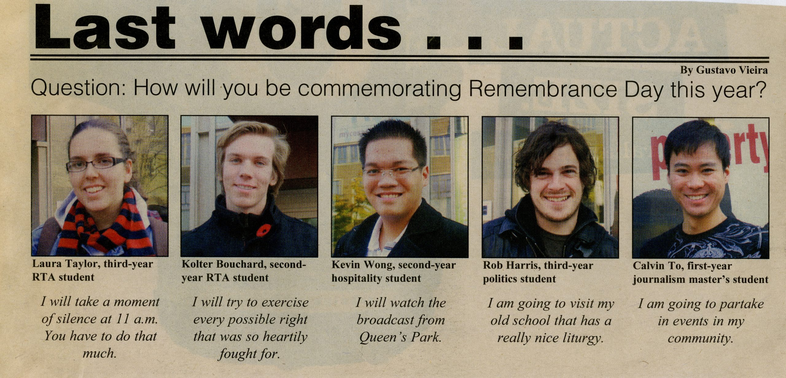 A newspaper article featuring 5 students and their opinion on Remembrance Day
