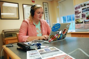 Taylor Schafer '15 works in the archives