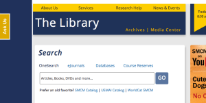 Screenshot of old library website