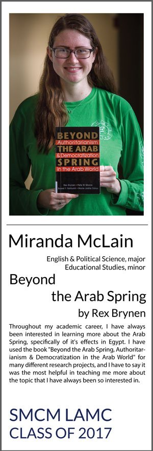 "Miranda McLain Political Science & English major, Educational Studies minor Beyond the Arab Spring, Authoritarianiam & Democratization in the Arab World Throughout my academic career, I have always been interested in learning more about the Arab Spring, specifically of it's effects in Egypt. I have used the book ""Beyond the Arab Spring, Authoritarianism & Democratization in the Arab World"" for many different research projects, and I have to say it was the most helpful in teaching me more about the topic that I have always been so interested in."