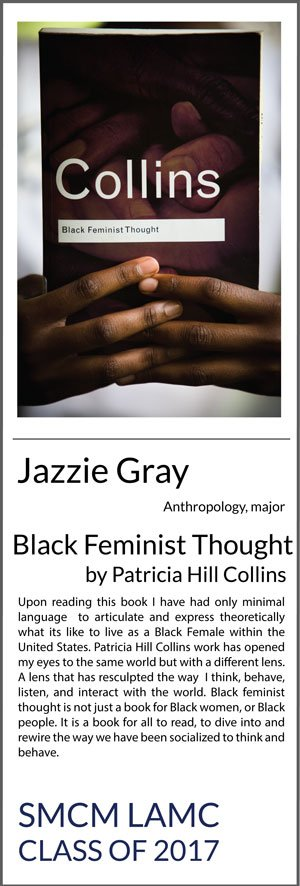Jazzie Gray Anthropology Black Feminist Thought by Patricia Hill Collins Upon reading this book I have had only minimal language to articulate and express theoretically what its like to live as a Black Female within the United States. Patricia Hill Collins work has opened my eyes to the same world but with a different lens. A lens that has resculpted the way I think, behave, listen, and interact with the world. Black feminist thought is not just a book for Black women, or Black people. It is a book for all to read, to dive into and rewire the way we have been socialized to think and behave.