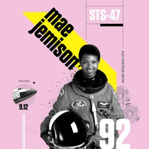 poster of Mae Jemison depicts a woman in an astronaut suit in black and white in front of a pink background
