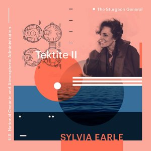 poster of Sylvia Earle includes a black and white image of the scientist and picture of the ocean on a salmon pink background with blue blocks of color