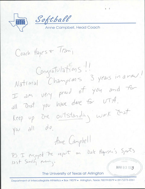 Handwritten letter from Anne Campbell, head coach of the