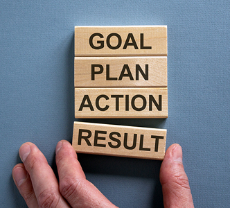 Wooden blocks form the words 'goal, plan, action, result'