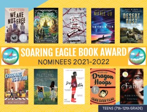 Poster with book cover images for Soaring Eagle award nominees