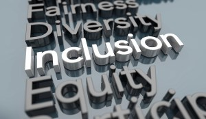3D letters read: Fairness, Diversity, Inclusion (highlighted), and Equity
