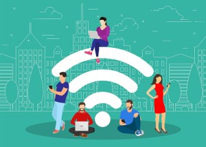 Cartoon illustration: wifi symbol surrounded by people using gadgets and laptops against a cityscape background