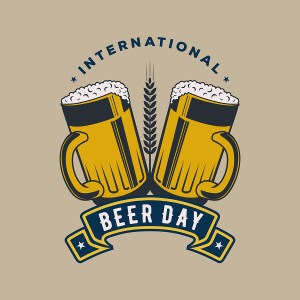 """Brown and yellow drawing of two beer mugs with text that reads, """"International Beer Day."""""""
