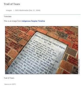 Memorial pavestone in field of bricks commemorating Trail of Tears.