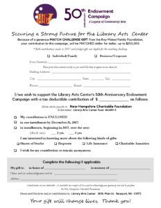 50th Endowment - PLEDGE FORM - Library Arts Center Gallery & Studio