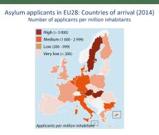 Asylum applicants in EU28: Countries of arrival (2014)