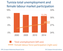Tunisia total unemployment and female labour market participation