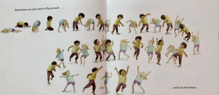 Double-page spread from How Do You Dance? by Thyra Heder. Two children move in a continuous dance across the pages.