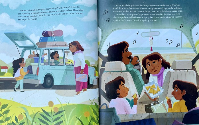 Two pages in the picture book Fatima's Great Outdoors by Ambreen Tariq and Stevie Lewis.