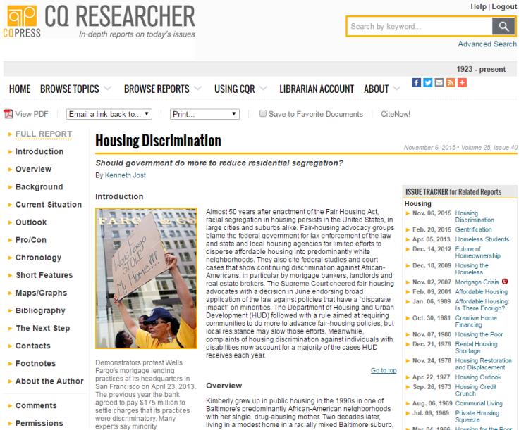 screenshot of a CQ Researcher report