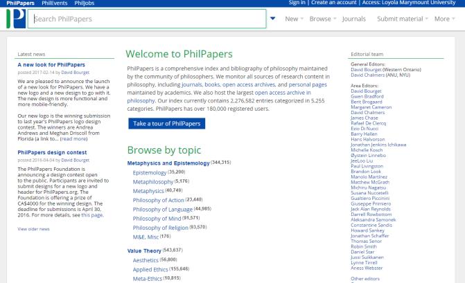 Screenshot of PhilPapers homepage