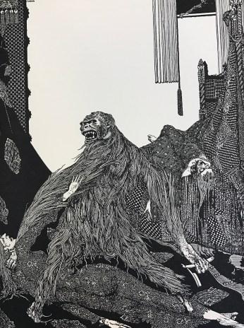 illustration of orangutan holding razor