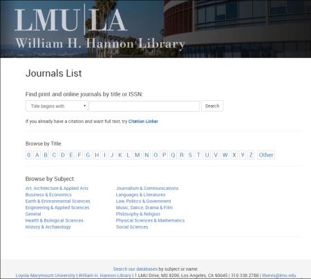 Screenshot of new journals list