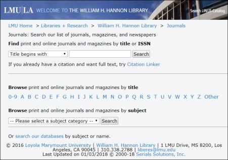 Screenshot of old journals list interface