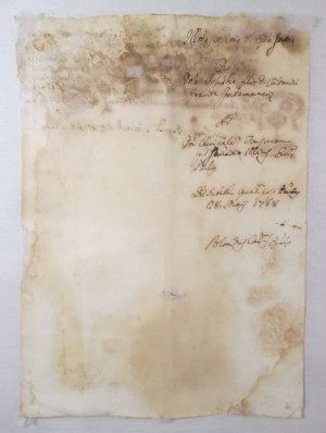 1768 Italian manuscript paper after repair_verso