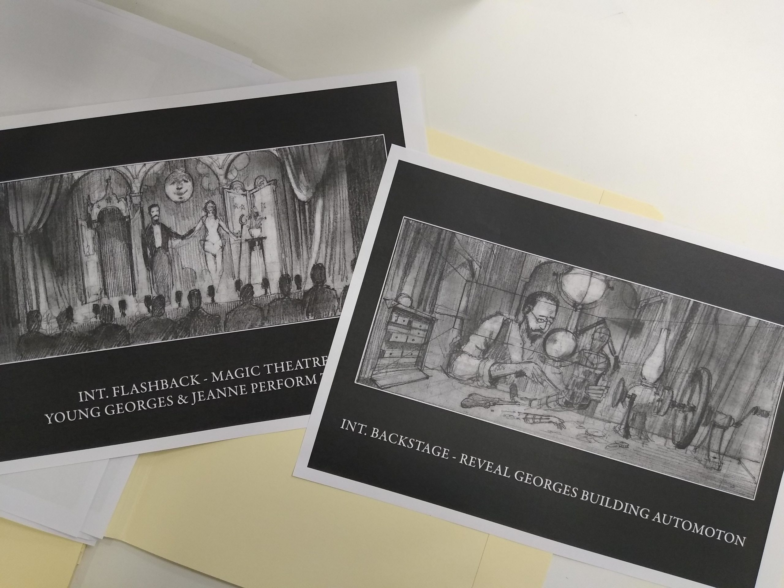 Storyboard images for scenes in the film Hugo