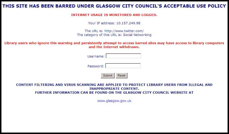 Glasgow Libraries Barred Website Message