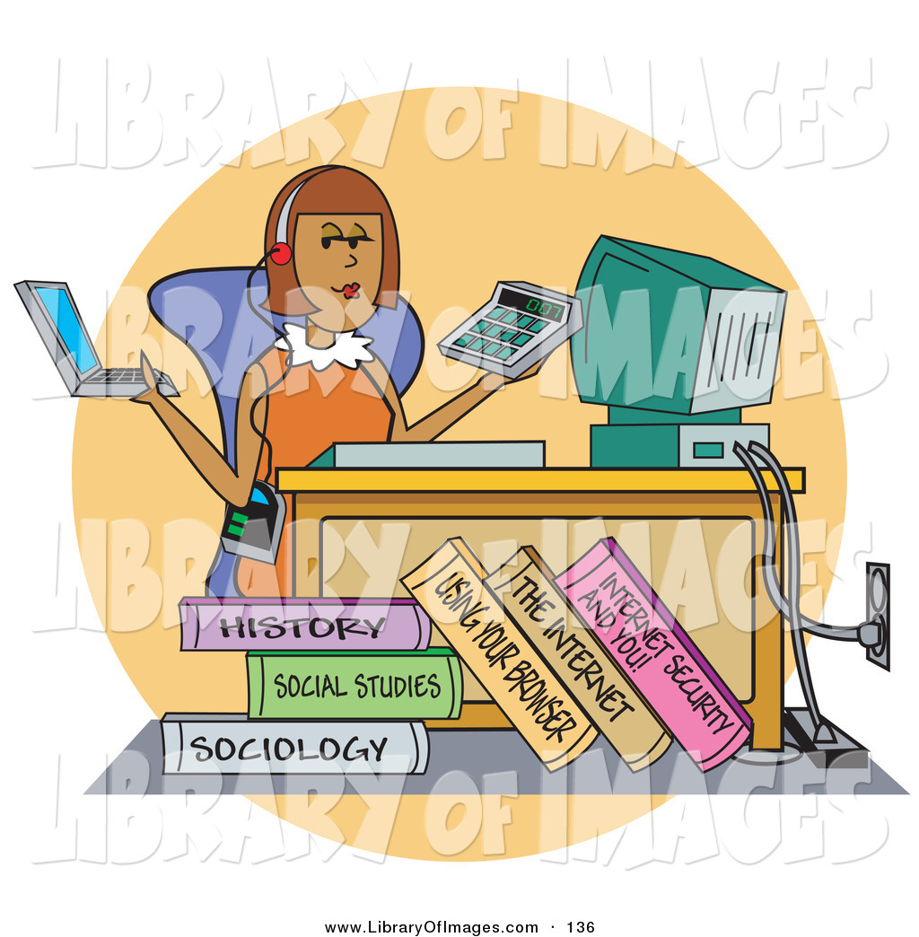 Clip Art Of A Busy Female College Student Working On A