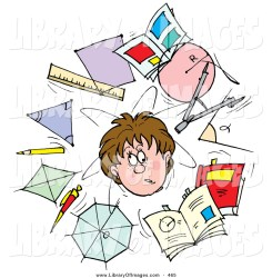Clip Art of a Confused School Boy Surrounded by Scholarly Shapes Rulers Pencils and Books by Alex Bannykh #465