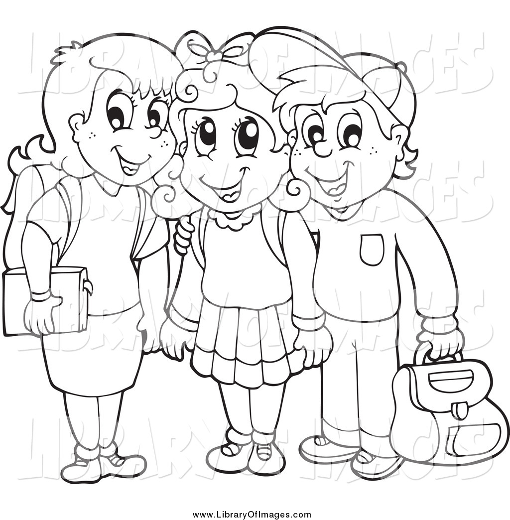Clip Art Of Black And White School Children Smiling By