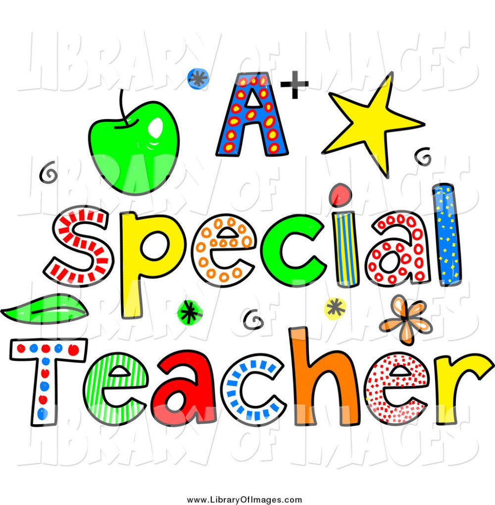 medium resolution of clip art of sketched colorful letters spelling a special teacher