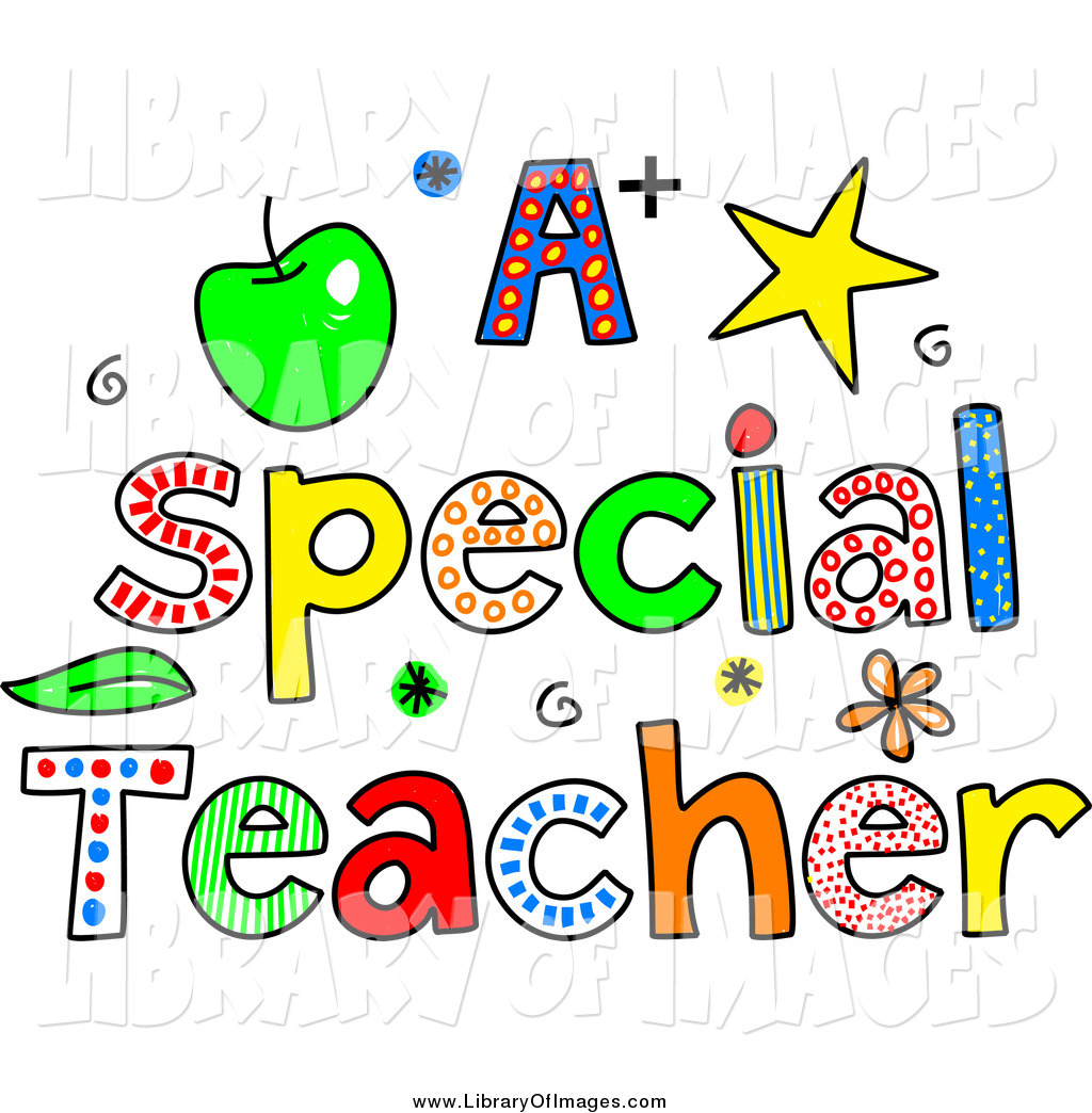 hight resolution of clip art of sketched colorful letters spelling a special teacher