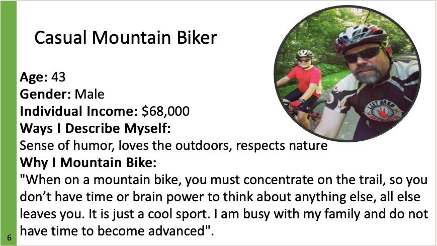 an image describing a casual mountain biker persona